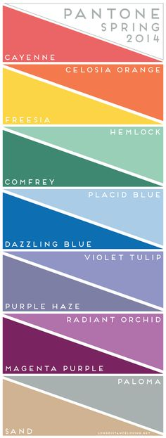 pantone color report: spring 2014 get your hue on! color palette inspiration for weddings, craft and design inspiration Colour Schemes, Color Trends, Color Patterns, Color Combinations, Colour Chart, Design Web, Design Color, Design Seeds, Purple Haze