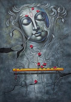 Buy Krishna with Basuri by Community Artists Group@ Rs. - Shop Art Paintings online in India. Buddha Painting, Krishna Painting, Buddha Art, Krishna Art, Mural Painting, Mural Art, Radhe Krishna, Krishna Tattoo, Religious Paintings