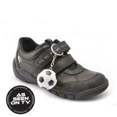Hat-Trick - Black Leather - boys school shoes that are long-lasting and include a fun accessory