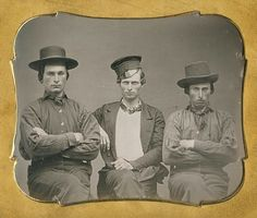 Sixth Plate Daguerreotype, The Beedle Brothers With a Friend, Taken at the Plumbe Gallery.