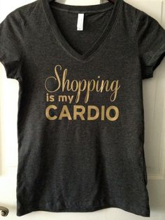Shopping is my Cardio Vneck Tshirt by Thesassycoconut on Etsy