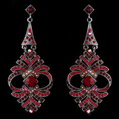 Elegant Red Vintage Crystal Earrings - ALSO IN GOLD $58.00
