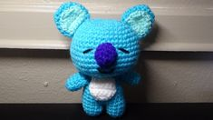 A crochet tutorial on Namjoonie's cute character Koya (*^^*) The two I made are different shades of blue simply because I ran out of yarn, but all of the Crochet Pouf, Cute Crochet, Crochet Dolls, Amigurumi Patterns, Knitting Patterns, Crochet Patterns, Yarn Projects, Crochet Projects, Crochet Crafts