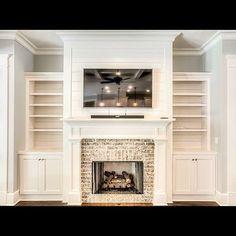 White Cabinetry & White Shiplap - Fireplace Brick