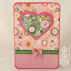 Pink and green heart card. Made by Dee Caria Dee Dee, Heart Cards, Paper Crafting, Pink And Green, I Card, Pattern Flower, Craft Cards, Valentine's Day Diy, Green Rose