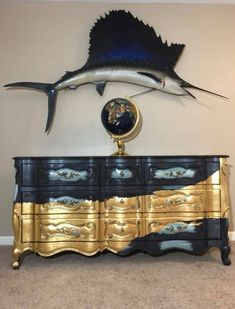 Dark blue with gold leafs and sailfish french provincial dresse… - UNIQUE FURNITURE Gold Leaf Furniture, Funky Furniture, Refurbished Furniture, Paint Furniture, Unique Furniture, Repurposed Furniture, Rustic Furniture, Furniture Makeover, Living Room Furniture