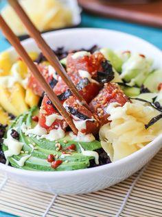 Ahi Poke Sushi Bowls with Wasabi Sauce - The Roasted Root Poke Sushi Bowl, Salmon Poke Bowl Recipe, Poke Sauce Recipes, Raw Food Recipes, Healthy Recipes, Sushi Recipes, Sushi Sauce, Ahi Tuna Poke, Cooking