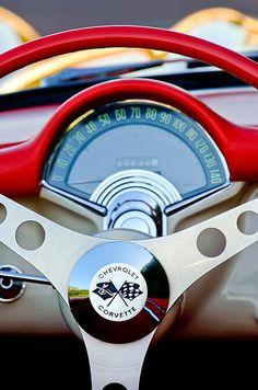 Car Art - 1957 Chevrolet Corvette Convertible Steering Wheel by Jill Reger Chevrolet Corvette, 1957 Chevrolet, Corvette Cabrio, Chevy, Corvette Convertible, Classic Chevrolet, Pontiac Gto, General Motors, Buick