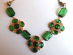 Macy's Gold Tone Faceted Green Crystal and Bead Cluster Necklace by Ali Khan #Macys #Statement