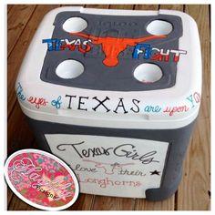 Texas #Longhorns #football custom #painted #cooler Order your team's today! #sports #TSM #TFM Hook 'em #Horns #HaylilyDesigns