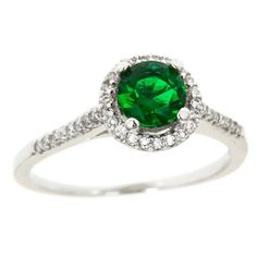 Polished Sterling Silver Carat Green Created Sapphire & Simulated Diamonds for Women