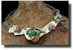 AllisonBellowsJewelry.com  Sterling Silver, Amethyst Amazonite, Chrysoprase, Chalcedony, Ancient Coin/India