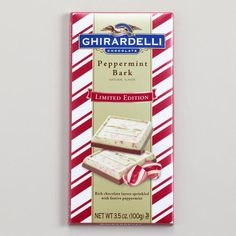 Ghirardelli Peppermint Bark Bar, comes in milk and dark...I think....with white chocolate! My absolute favorite for Christmas time