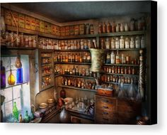 Hdr Canvas Print featuring the photograph Pharmacy - Medicinal Chemistry by Mike Savad