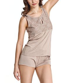 This Beige Lace-Accent Keyhole Top & Shorts Pajama Set is perfect! #zulilyfinds