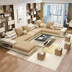 Balcony Furniture, Sofa Furniture, Living Room Furniture, Cheap Furniture, U Shaped Sectional Sofa, Living Room Sectional, Corner Sofa Design, Fabric Sofa, Sofa Set