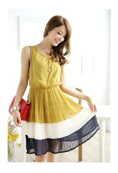 Stylish Style Scoop Neck Splicing Pleated Design Sleeveless Spring Dress For Women (GINGER,ONE SIZE) | Sammydress.com