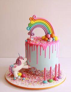 New Cupcakes Anniversaire Licorne Ideas Birthday Cake Girls, Birthday Cupcakes, Birthday Kids, Rainbow Birthday Cakes, Birthday Presents, Birthday Parties, Fondant Cakes, Cupcake Cakes, Fondant Girl