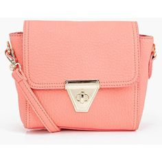 Boohoo Edith Lock Detail Cross Body Bag (595 CZK) ❤ liked on Polyvore featuring bags, handbags, shoulder bags, coral, crossbody handbags, crossbody backpack, red shoulder bag, locking backpack and day pack backpack