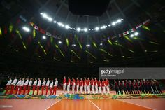 Silver medalist team Serbia, gold medalist team China and bronze medalist team…