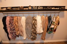 scarfhangerwithbraclets DIY Closet Organization Ideas