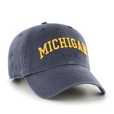 bf3bebb89e8  47 Brand Michigan Wolverines Script Clean Up Adjustable Hat (Vintage Navy)