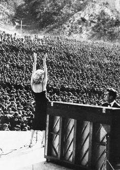 """U.S. Marilyn Monroe performing for troops stationed in Korea, 1954 - """"I couldn't believe it. There were thousands of them screaming for me. I was scared but I'd do it again."""""""