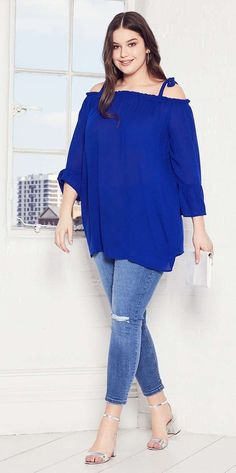 Plus Size Tie Cold Shoulder Top
