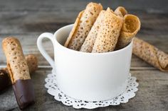 Almond Lace Wafers are a classic Scandinavian rolled holiday cookie and they have a wonderful toffee-like flavor and crunch.