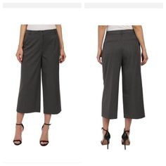 NWOT Vince Zip Front Culottes in Dark Grey NWOT Vince Zip Front Culottes in Dark Grey. Perfect new Vince culottes in size 2. Made of 60% wool, 33% viscose, 5% polyamide and 2% elastane. Measures 15 1/2 inches across waist laying flat and 29 1/2 inches long and 21 inch inseam. Vince Pants