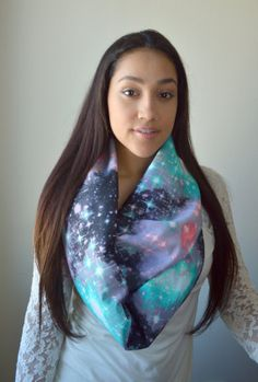 Galaxy Infinity Scarf, Mint and Coral Galaxy scarf