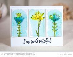 Sketched Blooms, Thanks So Very Much, Wonky Stitched Rectangle STAX Die-namics - Lisa Johnson Watercolor Cards, Watercolor Flowers, Card Making Inspiration, Making Ideas, Greeting & Note Cards, Sympathy Cards, Lisa Johnson, Mft Stamps, Copics