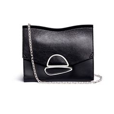 Proenza Schouler Croc embossed gusset small curl chain leather clutch (€665) ❤ liked on Polyvore featuring bags, handbags, clutches, black, croc embossed leather handbags, crocodile handbags, croc handbags, leather purses and crocodile leather purse