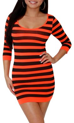 Peek (Orange/Black)-Great Glam is the web's best online shop for trendy club styles, fashionable party dresses and dress wear, super hot clubbing clothing, stylish going out shirts, partying clothes, super cute and sexy club fashions, halter and tube tops