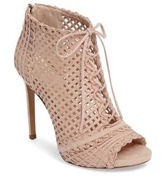 On SALE at 51% OFF! rendy latticework peep toe bootie by Jessica Simpson. Intricate latticework adds dramatic texture to a corset-laced bootie on a towering stiletto.