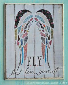 print on WOOD, Angel wings collage, girls typography, kids art… Wood Angel Wings, Engel Tattoos, Shabby Chic Art, Angel Tattoo Designs, Letter Wall, Angel Art, Wood Print, Art For Kids, Patterns