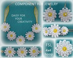 Embroidery components daisy lace 3d-FSL-No.594-4x4hoop-ith- necklace-bracelet-earrings-hairpins-brooch-Embroidery file./INSTANT DOWNLOAD