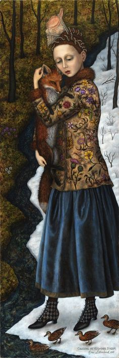 Crossing Over an Ice Covered Stream - by Gina Litherland