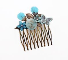 Decorative Hair Comb Vintage Button Shells Flowers Crystals Butterfly Leaves Antique Brass Blue Mori Girl Shabby Chic Victorian Bridal OOAK - pinned by pin4etsy.com