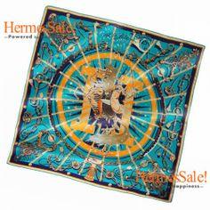 Hermes Cest La Fete 140cm Blue Cashmere Shawl