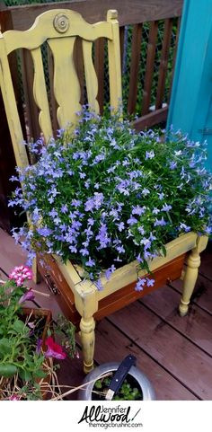 Beautiful Farmhouse Container Garden Ideas. Repurpose vintage decor like old wooden chairs into flower pots for container gardening. Outdoor decorating. Tips from theMagicBrushinc.com