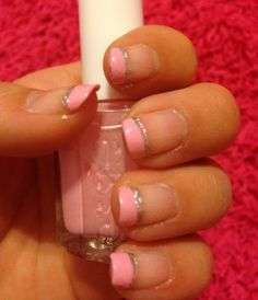 Pink and glitter French Tip Nail http://naildesignsite.com/french-tip-nails/ #Frenchtipnails #nails