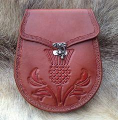 HandTooled Leather Sporran  Scottish Thistle by SonsOfPlunder, $125.00