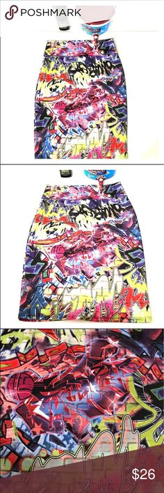 """Graffiti unique Hybrid pencil skirt XL Super cool graffiti skirt by Hybrid. Size XL. Skirt measures approximately 31"""" in the waist and about 23.5"""" length. GUC. Material has some stretch. Bodycon type fit. Bundle with other items in my closet to save even more. Skirts Pencil"""