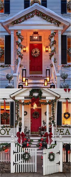 From the blog post, 27 Exceptional #Outdoor #Christmas #Decorations at #PotteryBarn #Holidays @styleestate #ChristmasPorch #ChristmasDecorations