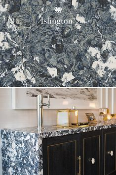 Featuring layered blue tones mixed with gray and white, Cambria Islington offers a glamorous look for this waterfall-edge home bar. These white and blue quartz countertops resist scratching and staining and are completely maintenance free, making them perfect for kitchens, bar tops, bathroom vanities, and more. Space by J Cohler Mason for the Kips Bay Decorator Show House.  #bardesign #bardecor #bluecountertops #minibarideas #homebarideas