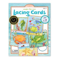 Eeboo Under the Sea Lacing Cards by Eeboo. $16.92. The Under the Sea lacing cards are a true classic when it comes to developing fine motor skills and entertaining children. The vibrant colors and graphics by Melissa Rockwell will make these cards masterpieces in their own right. Each of these beautifully designed sets contains five sturdy cards laminated on both sides for extra durability and five faux silk threads that won't unravel. Lacing cards are a great learni...