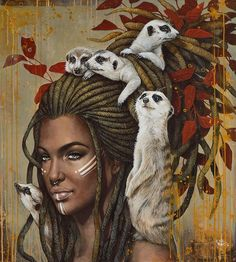 Meerkats by Sophie Wilkens Canadian Painters, Canadian Artists, Colorful Animal Paintings, Illusion Paintings, Esoteric Art, Magic Realism, Traditional Artwork, Fantasy Paintings, Black Women Art