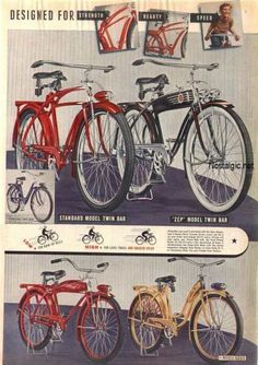 hawthorne bicycles 1940 1950s | This model boasts a sprung saddle, front shock absorber and a battery ...