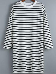 Black White Round Neck Striped Dress